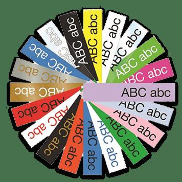 Laaja valikoima tarranauhoja eri väreinä ja leveyksinä