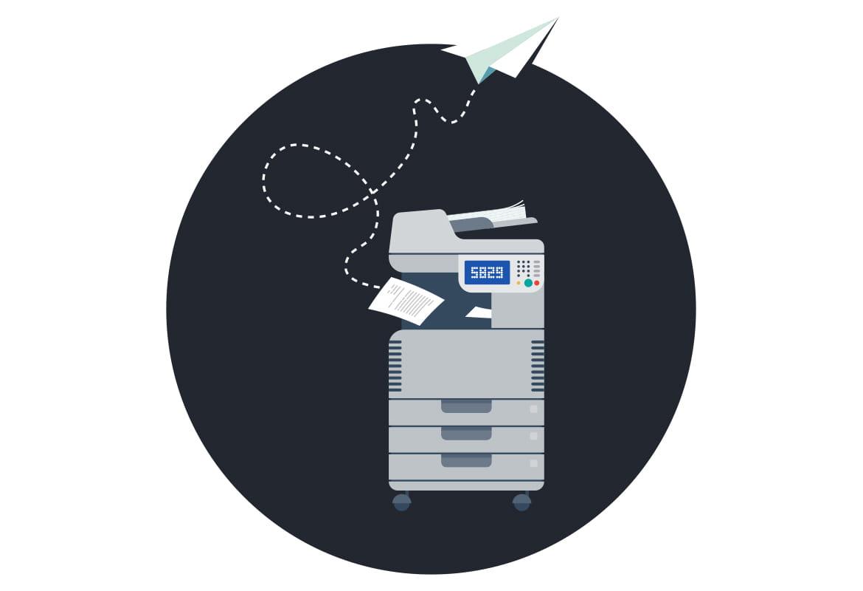 Havainnekuva tulostimesta ja lentävästä paperista