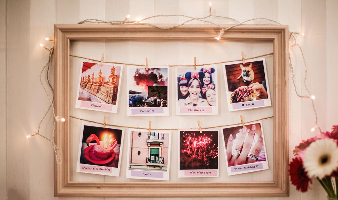 Valokuvatekstit on tulostettu pastellinväriselle tarranauhalle Brotherin tarratulostimella