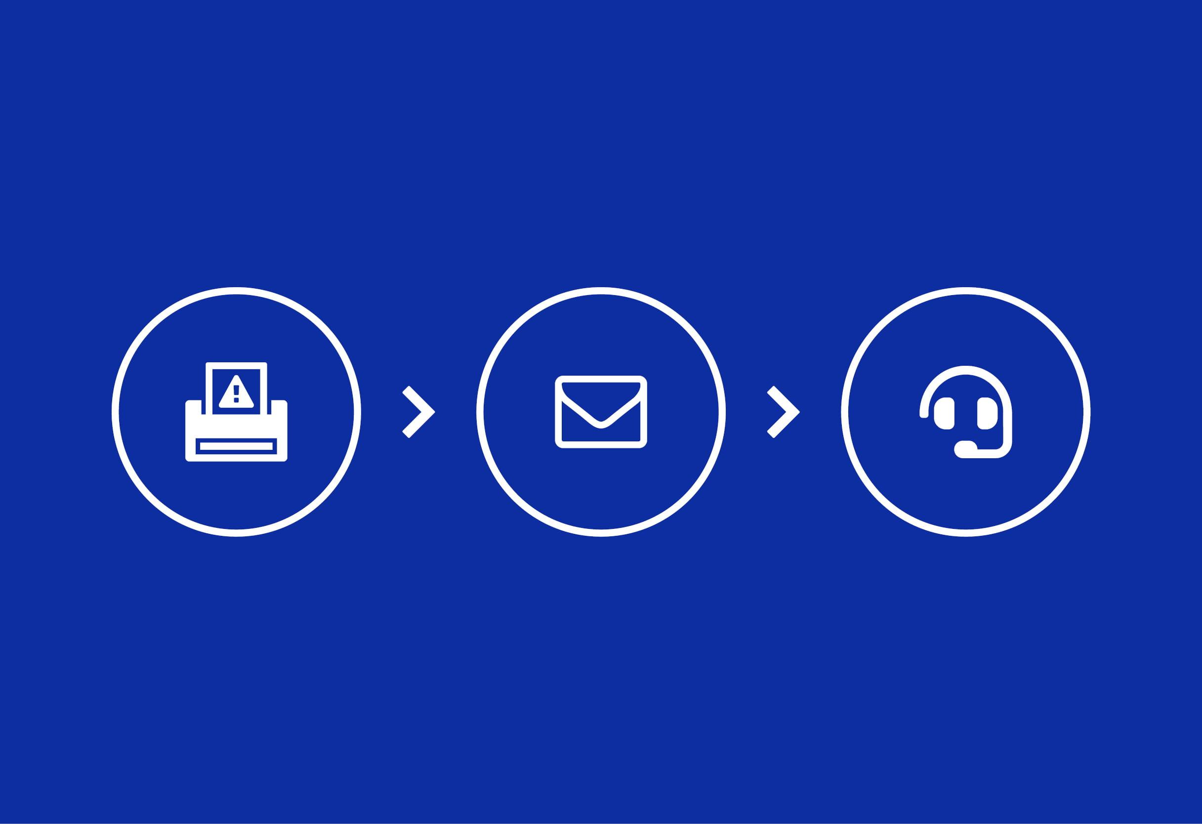 Tulostinkuvake, sähköpostikuvake ja yhteydenottokuvake