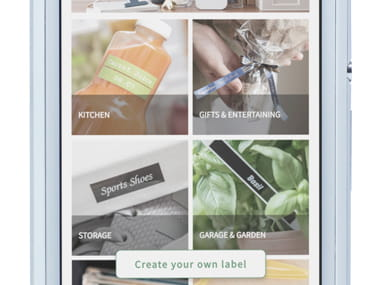 P-touch Design&Print -sovellus zoomattuna älypuhelimessa, esillä eri kategoriat