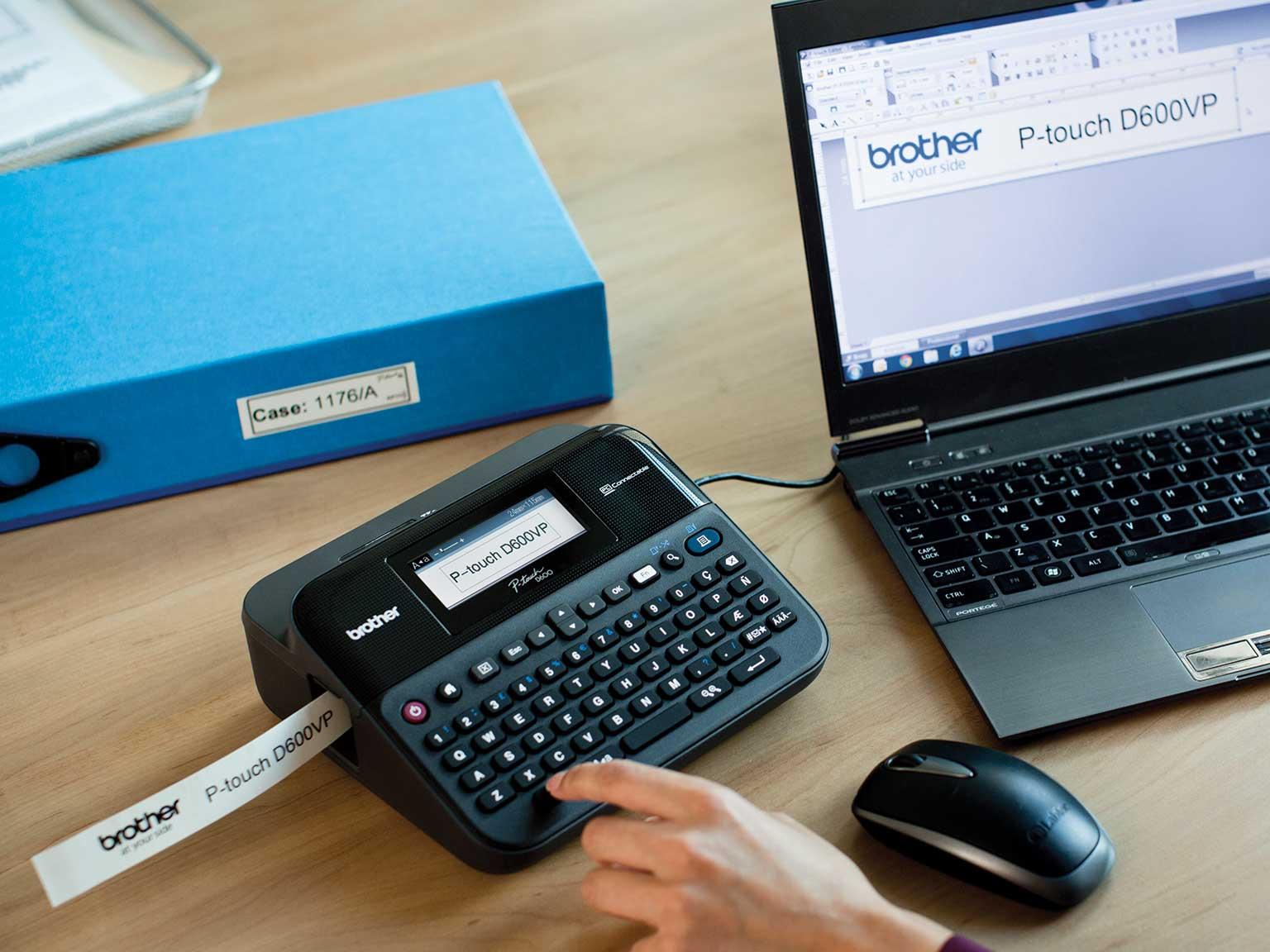 P-touch-tarratulostin tulostaa tarraa läppäristä