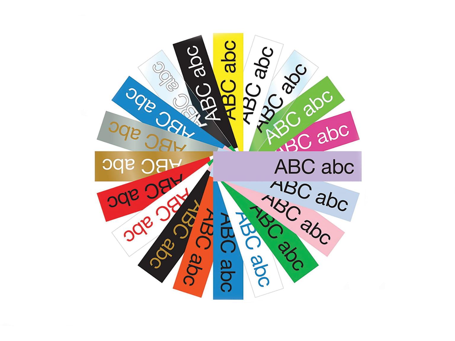 Brotherin kestäviä TZe-tarranauhoja on saatavilla useissa eri väreissä ja ko'oissa
