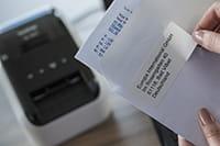 QL-etikettitulostimella tulostettu osoitetarra