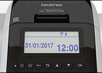 QL820NWB tulostaa päiväyksen ja kellonajan