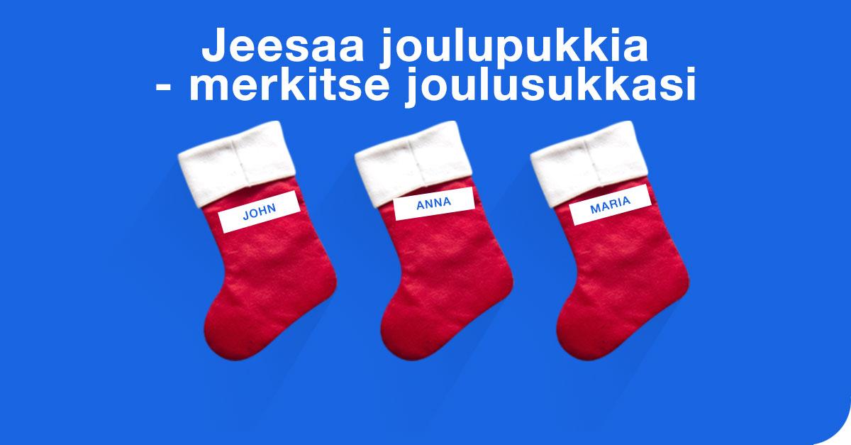 Jeesaa joulupukkia, merkkaa joulusukkasi