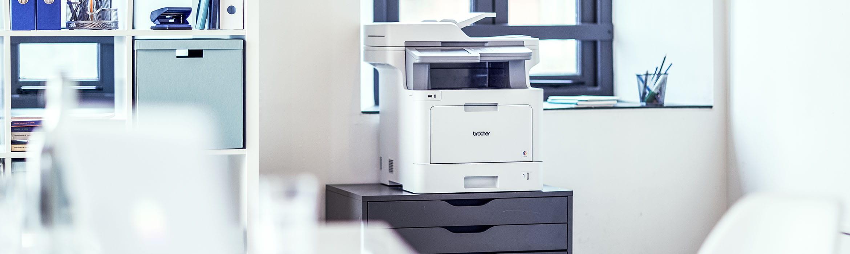 Kuvassa tulostin, joka on liitetty MPS-palveluihin
