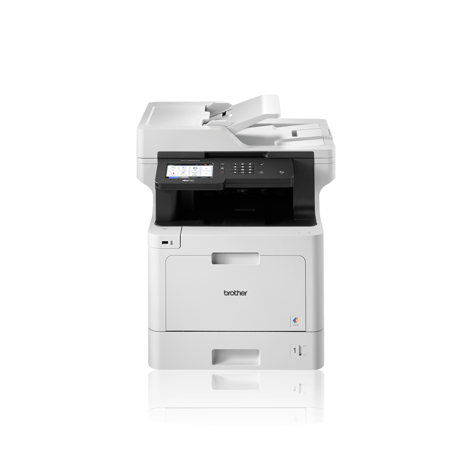 Brother business colour laser MFCL8900CDWLT facing front with additional paper tray