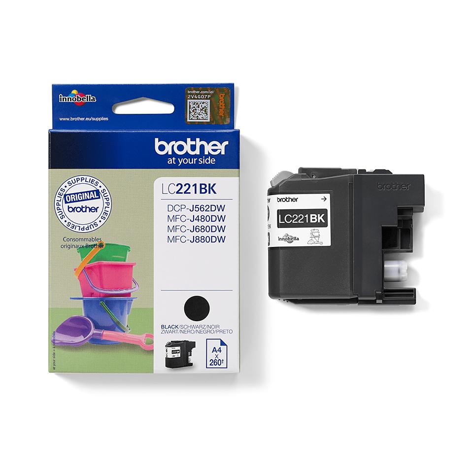 Brotherin alkuperäinen LC221BK-värikasetti – Musta 2