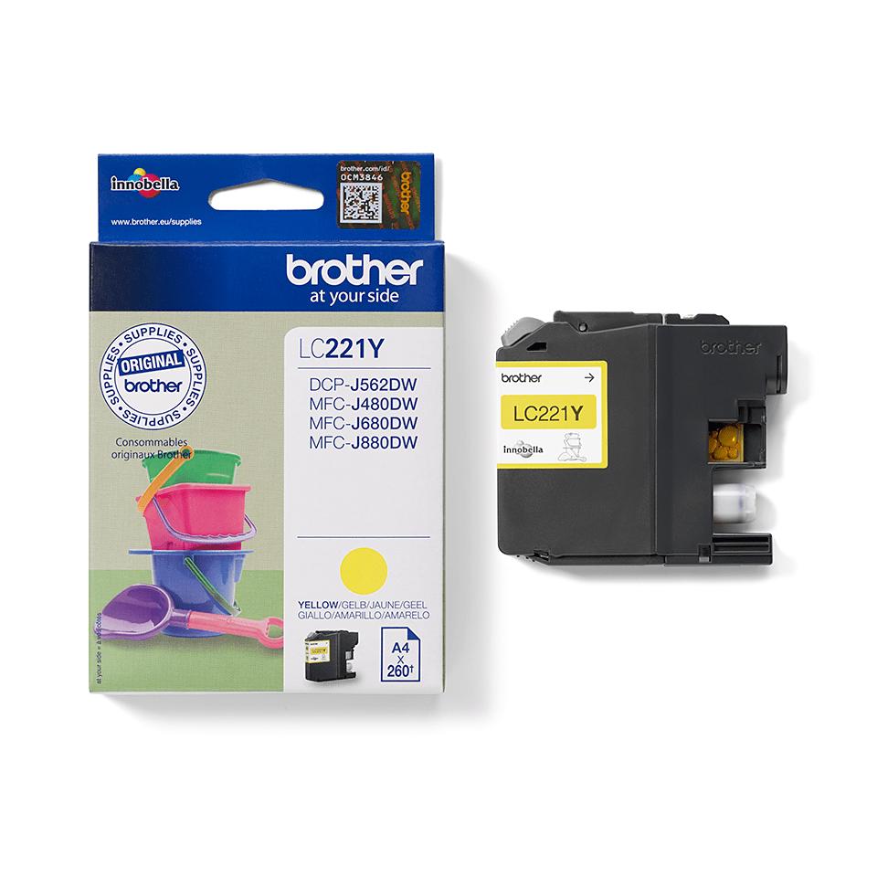 Brotherin alkuperäinen LC221Y-värikasetti – Keltainen 2