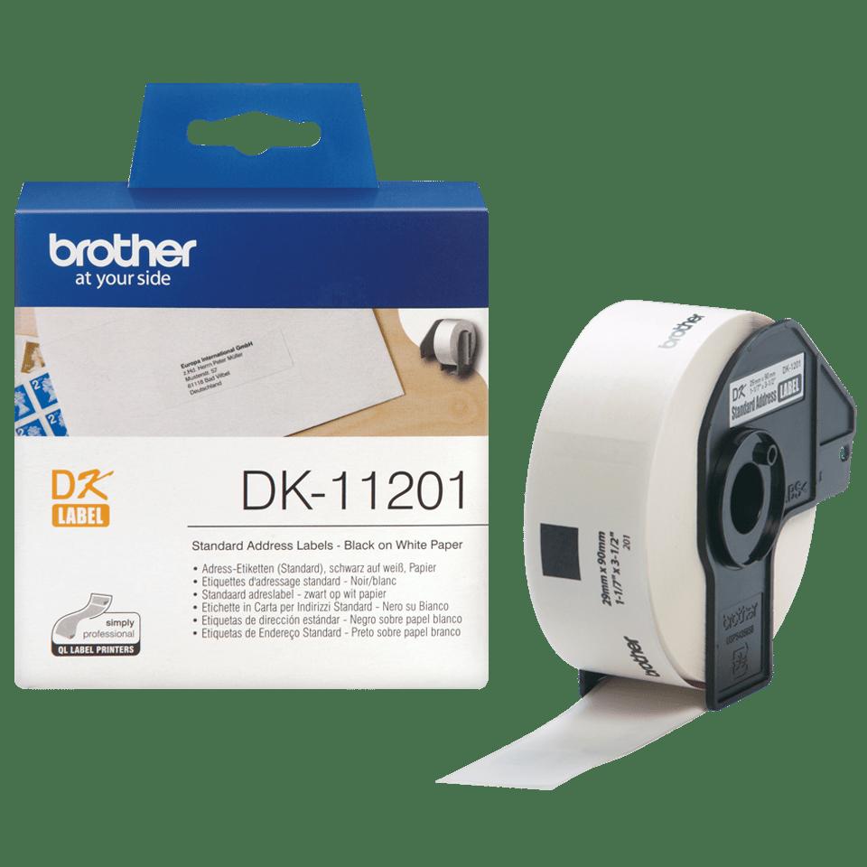 Brotherin alkuperäinen DK11201-vakio-osoitetarra - musta/valkoinen