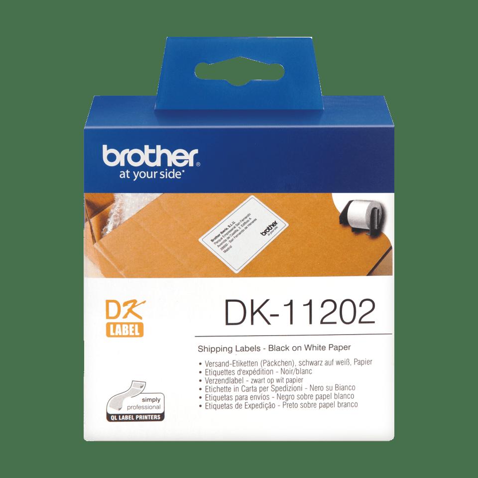 Brotherin alkuperäinen DK11202-rullatarra - Musta/valkoinen, 62 x 100 mm