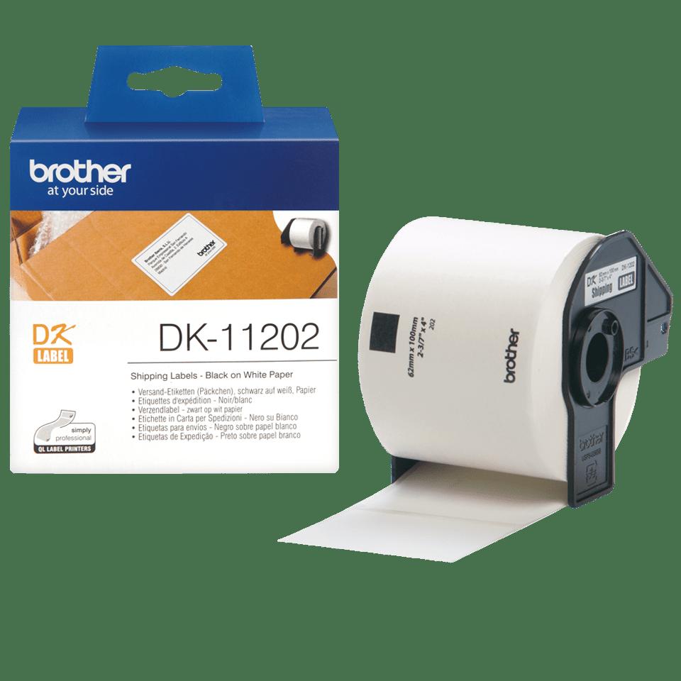 Brotherin alkuperäinen DK11202-rullatarra - Musta/valkoinen, 62 x 100 mm 3
