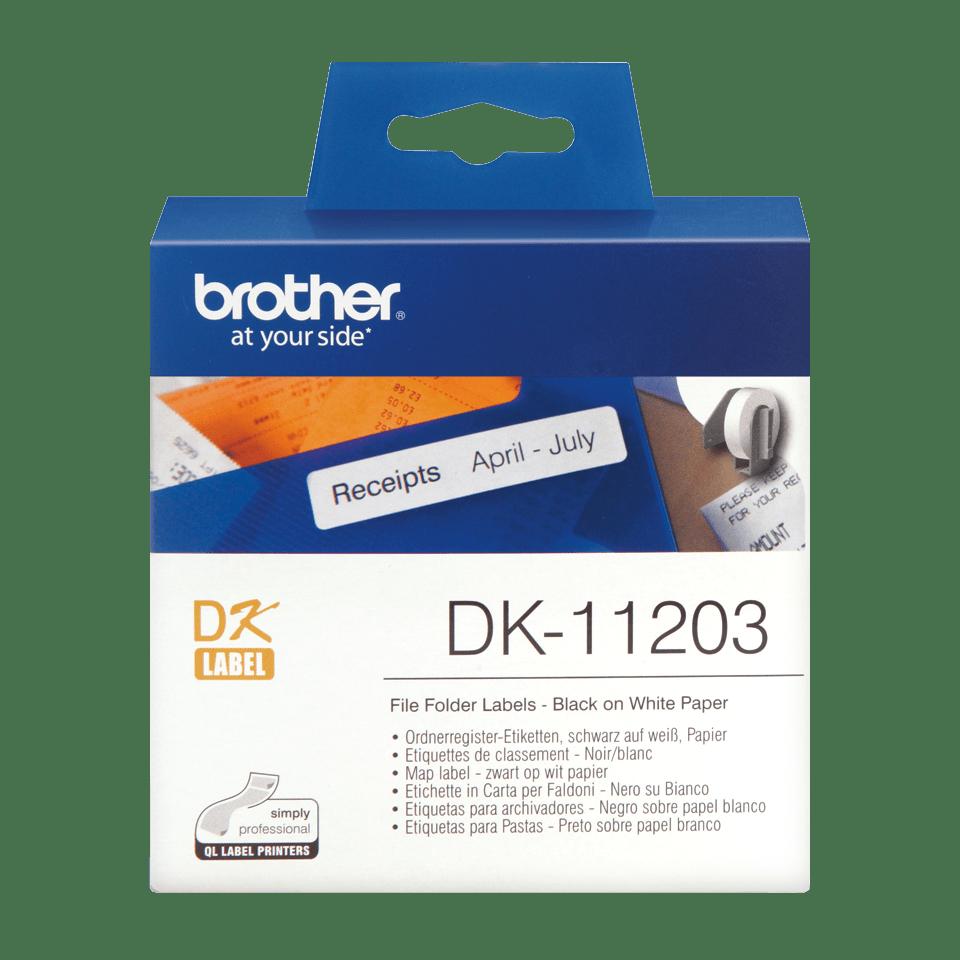 Brotherin alkuperäinen DK11203-rullatarra - musta/valkoinen