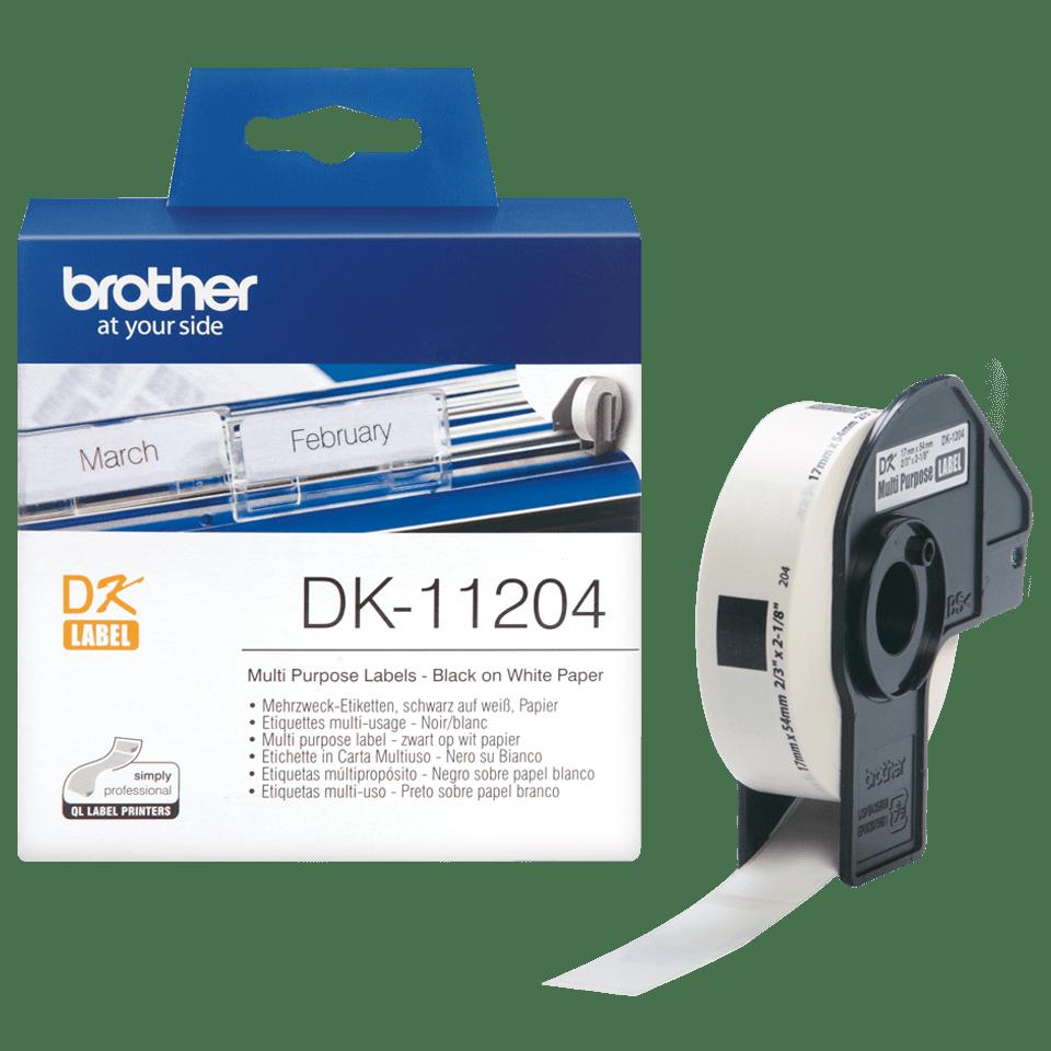 Brotherin alkuperäinen DK11204-rullatarra – musta/valkoinen 3