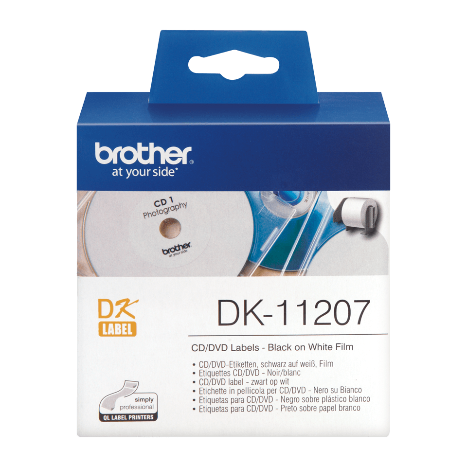 Brotherin alkuperäinen DK11207-rullatarra CD/DVD-levyjen merkintään - Musta/valkoinen, 58 mm