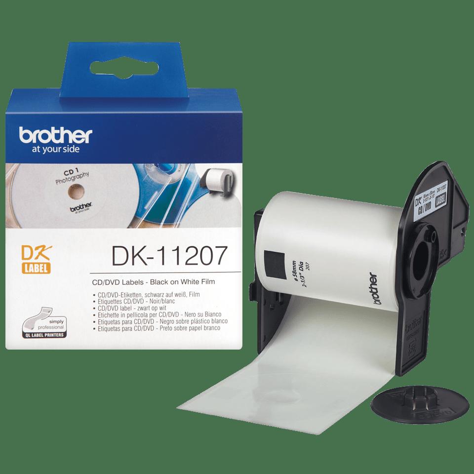 Brotherin alkuperäinen DK11207-rullatarra CD/DVD-levyjen merkintään - Musta/valkoinen, 58 mm 3
