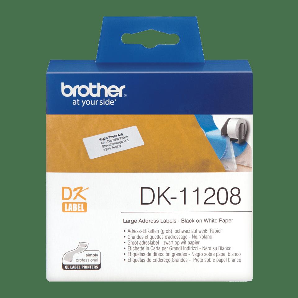 Brotherin alkuperäinen DK11208-rullatarra – musta/valkoinen