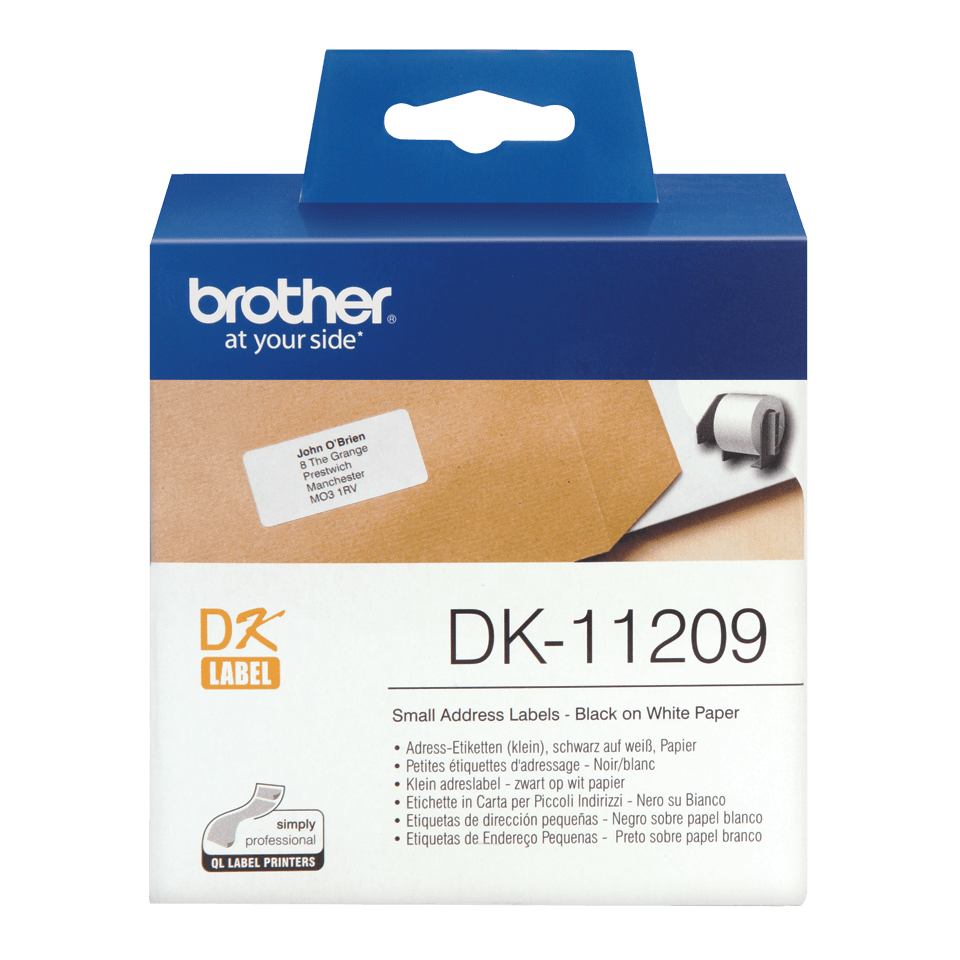 Alkuperäinen Brother DK-11209 osoitetarra, musta teksti valkoisella pohjalla, 29 x 62 mm.