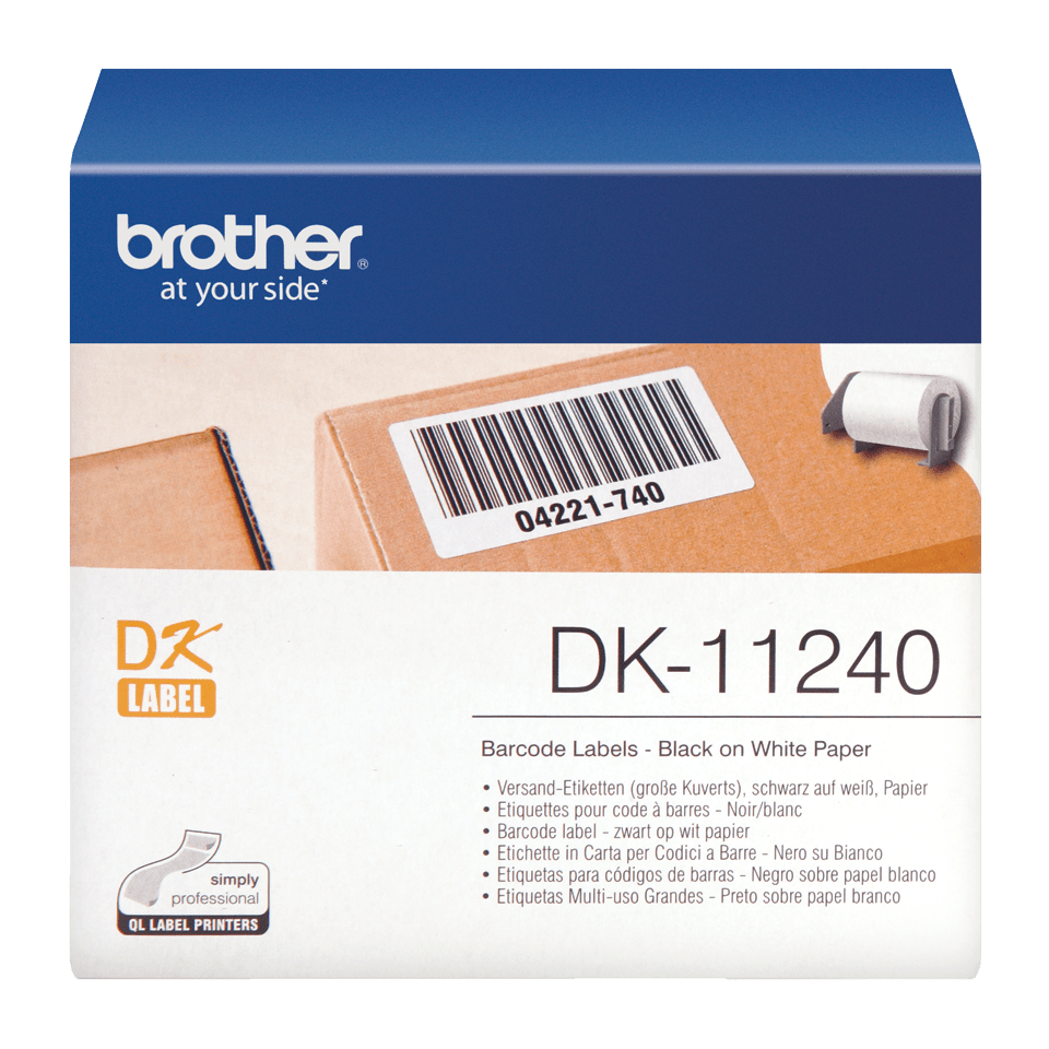 Brotherin alkuperäinen DK11240-rullatarra – musta/valkoinen