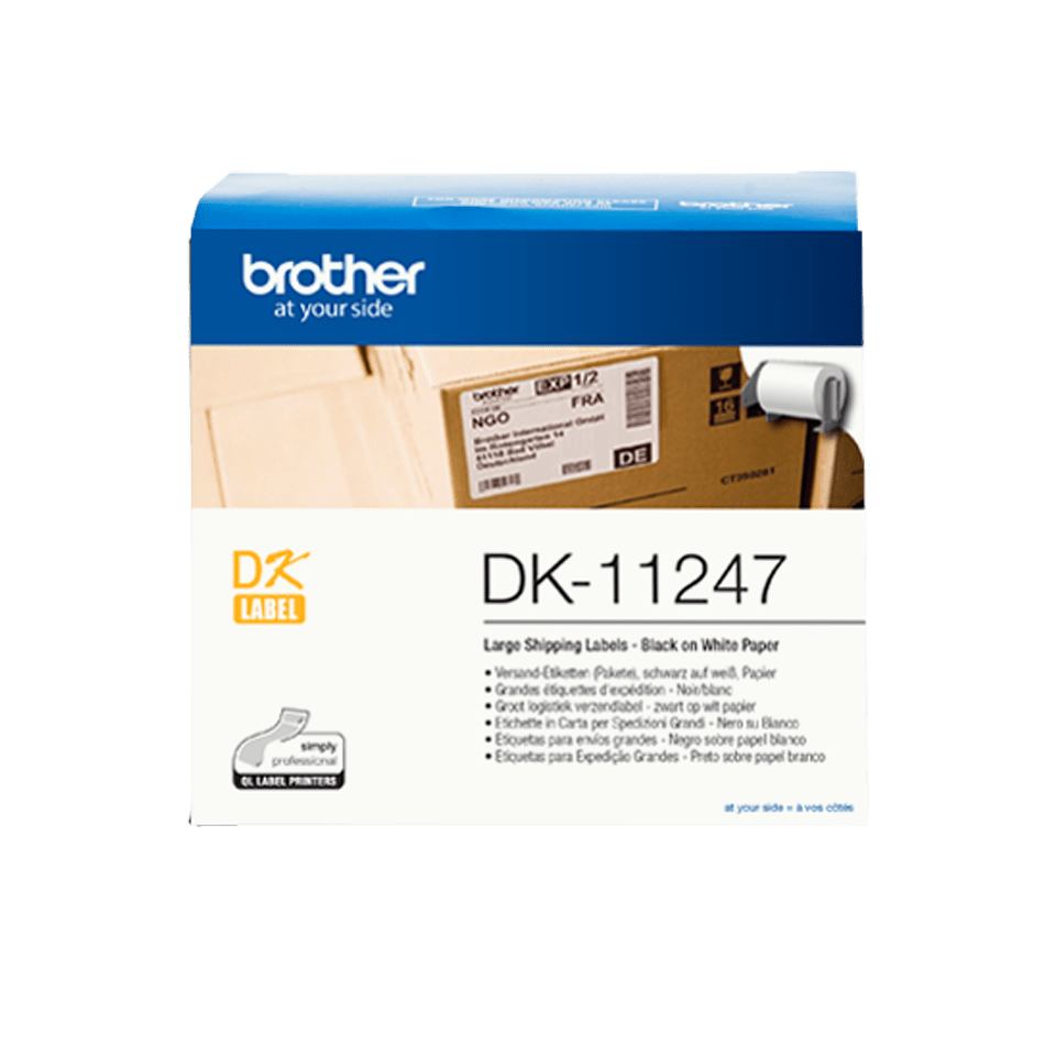 Alkuperäinen Brother DK11247 lähetetarra – Musta teksti valkoisella pohjalla, 103 x 164 mm