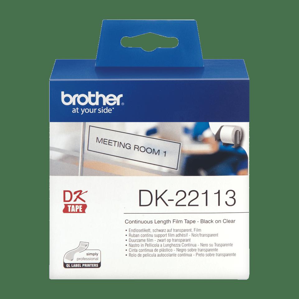 Brotherin alkuperäinen DK22113-rullatarra, filmiä - Musta/läpinäkyvä, 62 mm 2