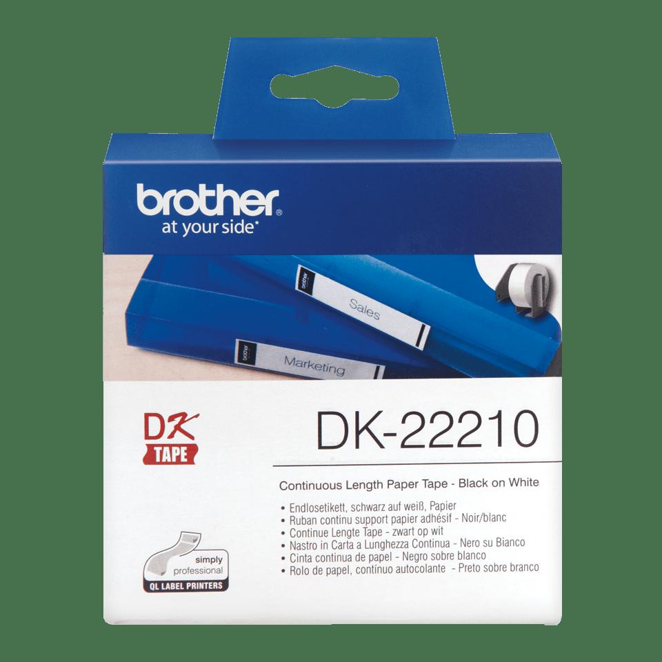 Brotherin alkuperäinen DK22210-rullatarra – Musta/valkoinen, 29 mm