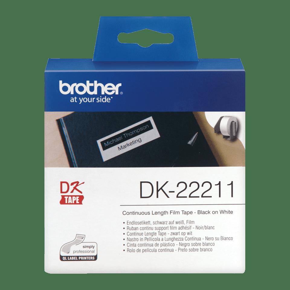 Brotherin alkuperäinen DK22211 jatkuva rullatarra, filmiä – Musta/valkoinen, 29 mm