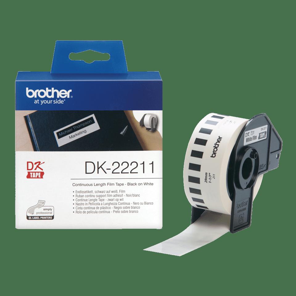 Brotherin alkuperäinen DK22211 jatkuva rullatarra, filmiä – Musta/valkoinen, 29 mm 3