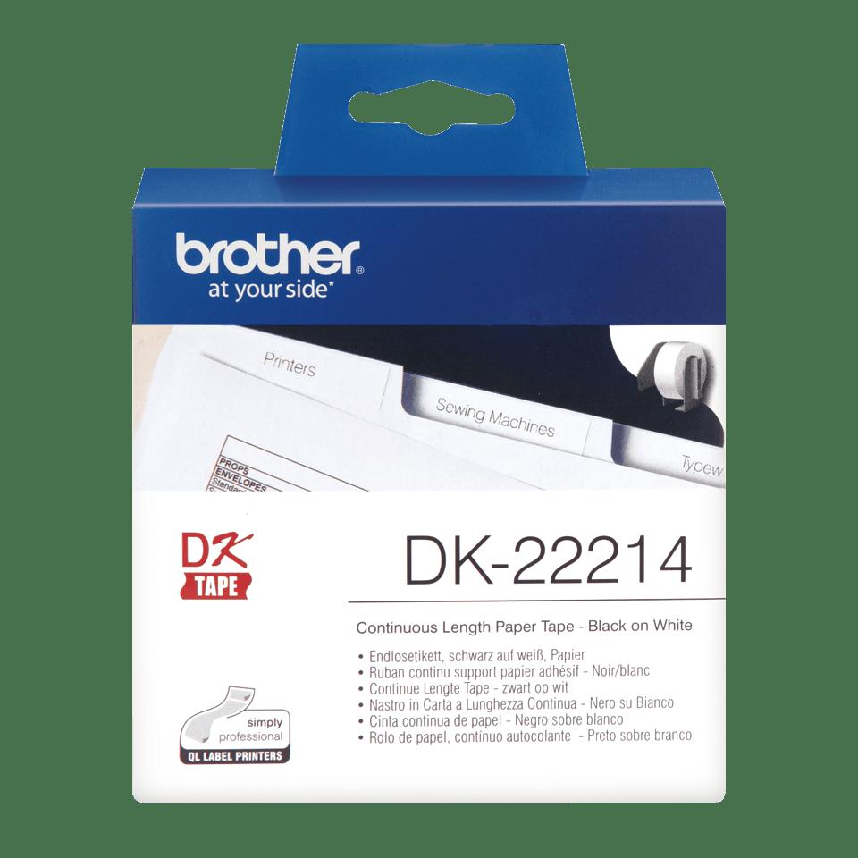 Brotherin alkuperäinen DK22214-rullatarra – Musta/valkoinen, 12 mm