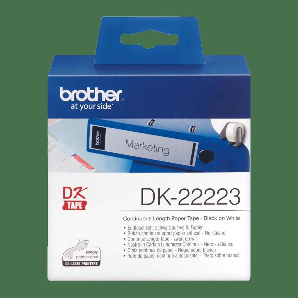 Brotherin alkuperäinen DK22223-rullatarra - Musta/valkoinen, 50 mm