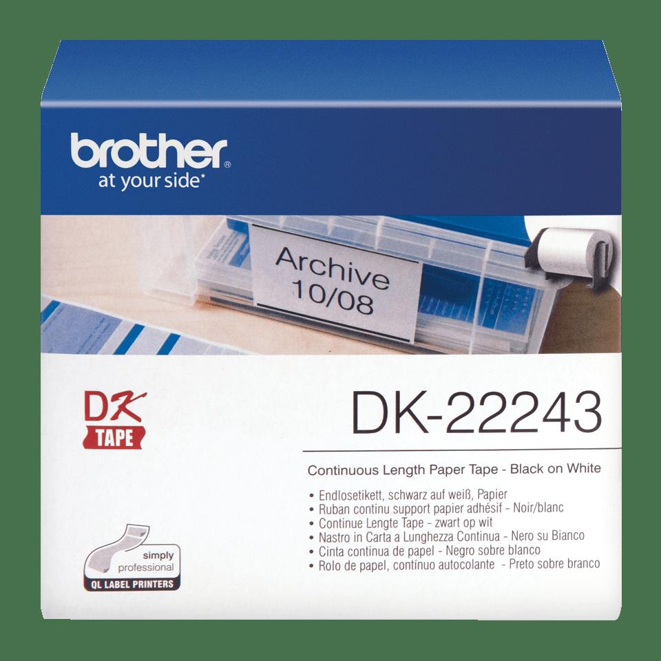 Brotherin alkuperäinen DK22243-rullatarra - Musta/valkoinen, 102 mm