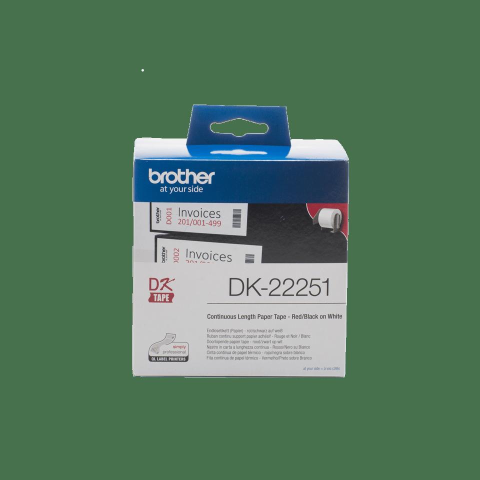 Brotherin alkuperäinen DK22251-rullatarra - Mustapunainen teksti valkoisella pohjalla, 62 mm
