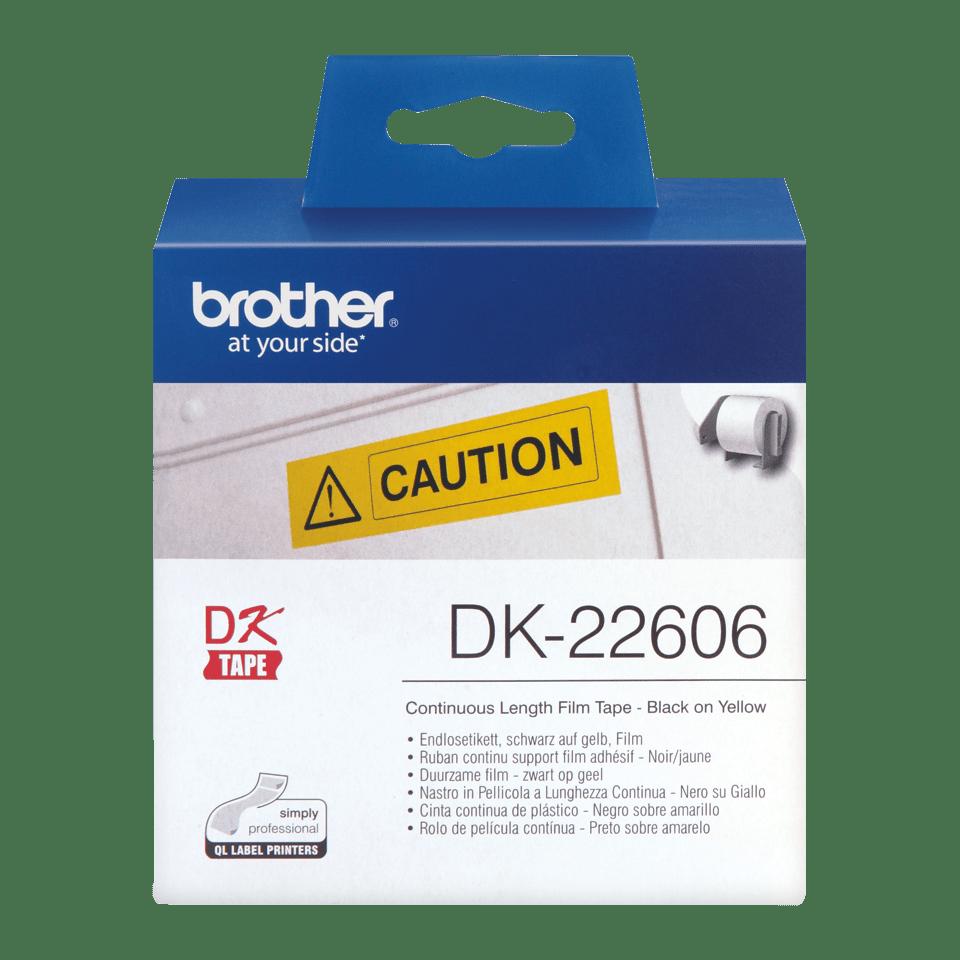 Brotherin alkuperäinen DK22606-rulllatarra, filmiä - Musta/keltainen, 62 mm