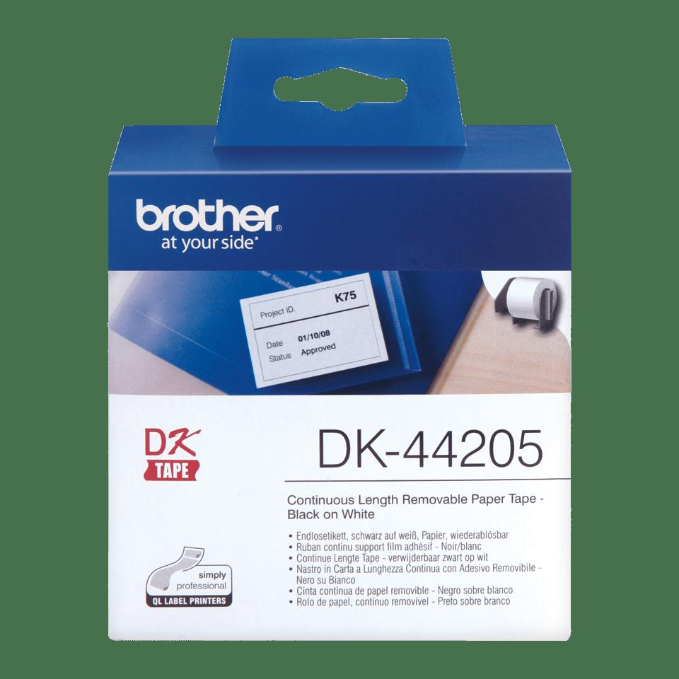 Brotherin alkuperäinen DK44205-rullatarra, helposti irrotettava - Musta/valkoinen, 62 mm.