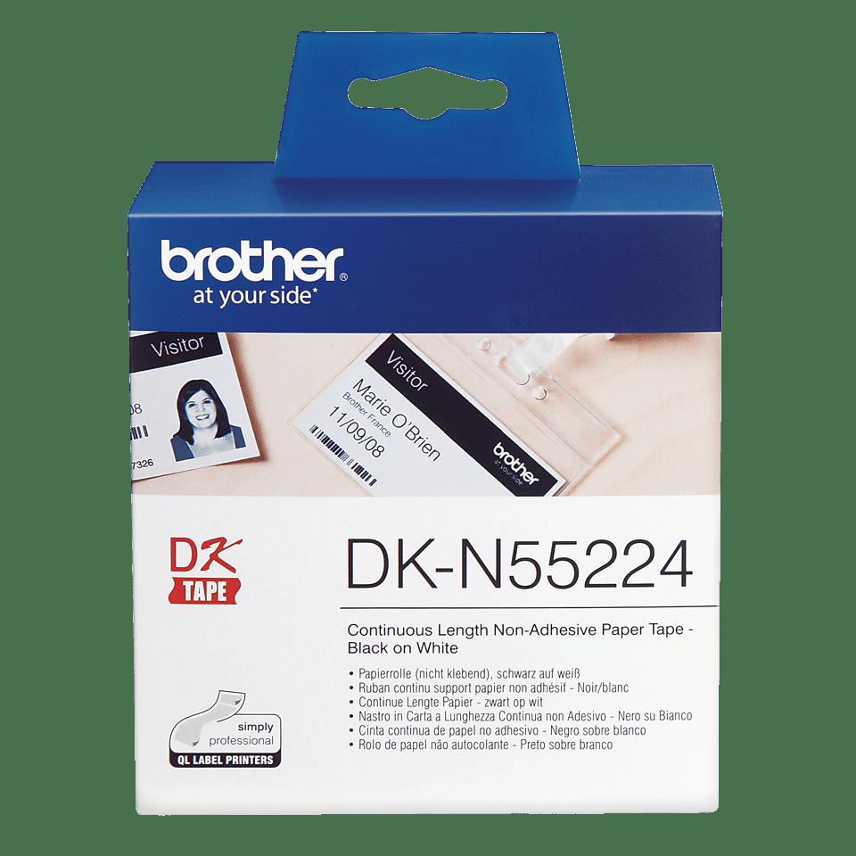 Brotherin alkuperäinen liimaton DKN55224-rullapaperi - Musta/valkoinen, 54 mm
