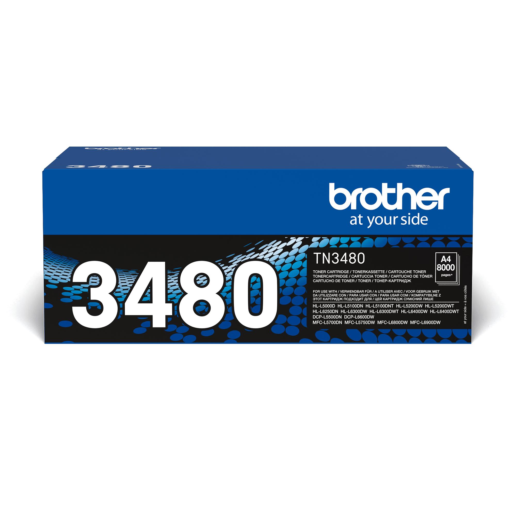 Brotherin alkuperäinen TN3480-suurvärikasetti – Musta
