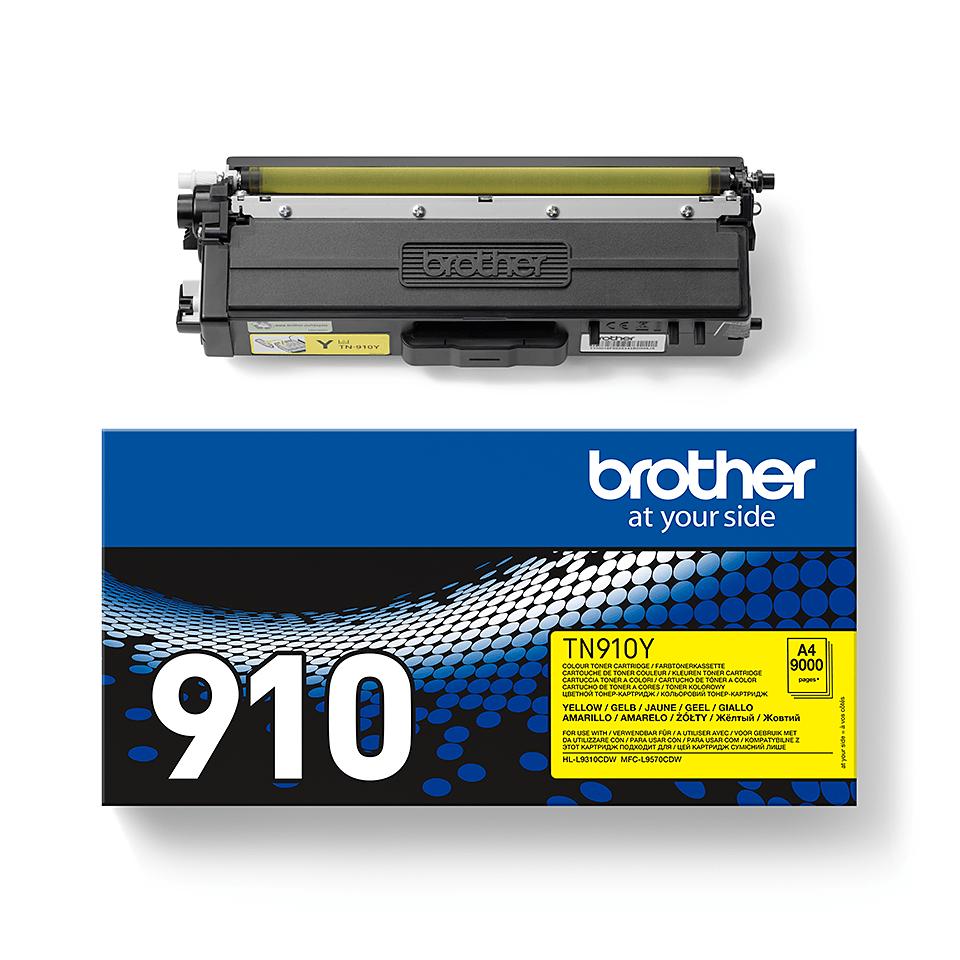 Brotherin alkuperäinen TN910Y-jättivärikasetti – Keltainen 2