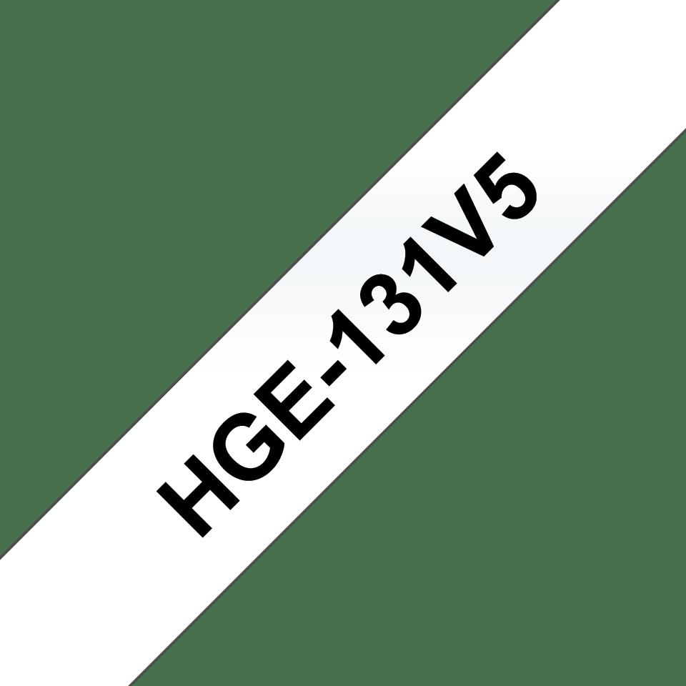 Alkuperäinen Brother HGe131V5 -suurnopeustarra, musta teksti/läpinäkyvä pohja, leveys 12 mm