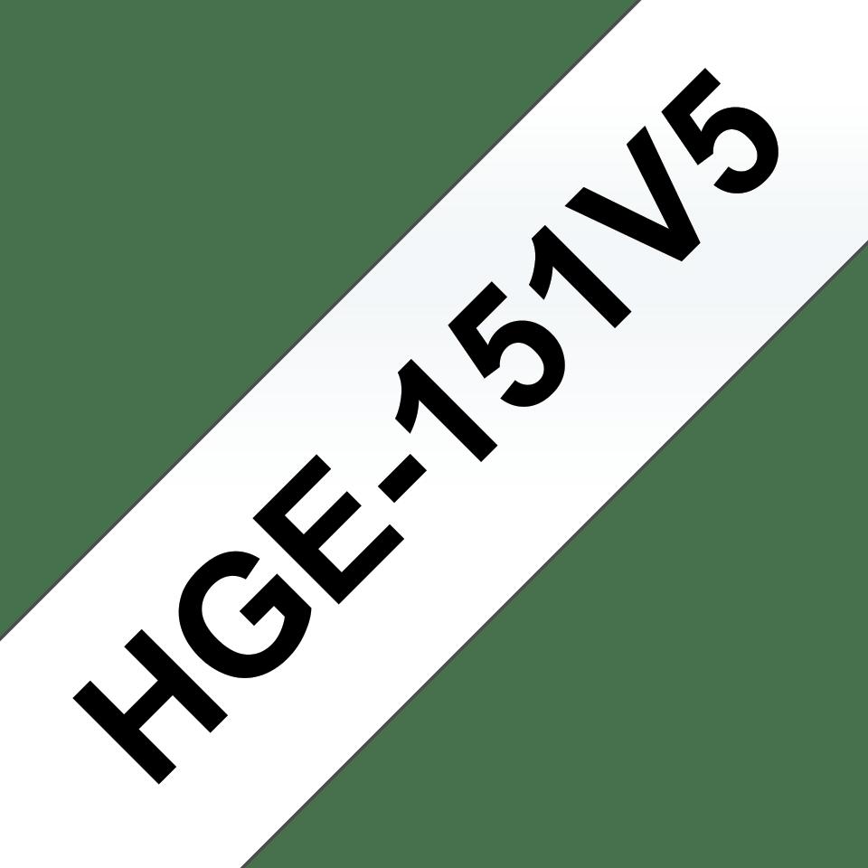 Brotherin alkuperäinen HGe151V5 -suurnopeustarra, musta teksti/läpinäkyvä pohja, leveys 24 mm