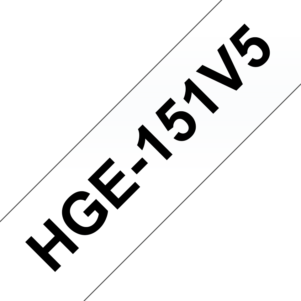 Alkuperäinen Brother HGe151V5 -suurnopeustarra – musta teksti/kirkas pohja, 24 mm