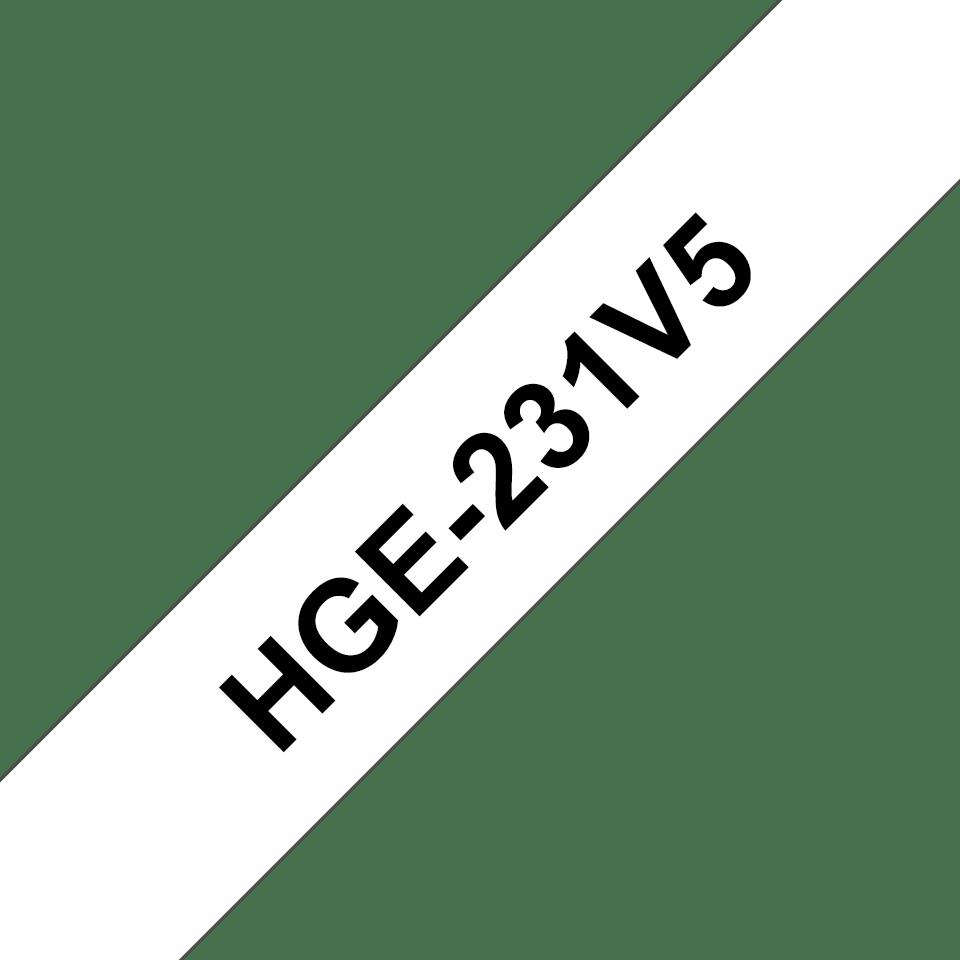 Alkuperäinen Brother HGe231V5 -suurnopeustarra – musta teksti/valkoinen pohja, 12 mm