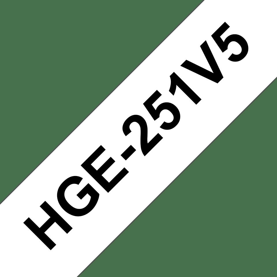 Alkuperäinen Brother HGe251V5 -suurnopeustarra – musta teksti/valkoinen pohja, 24 mm  2