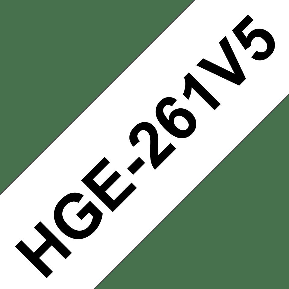 Alkuperäinen Brother HGe261V5 -suurnopeustarra – musta teksti/valkoinen pohja, 36 mm