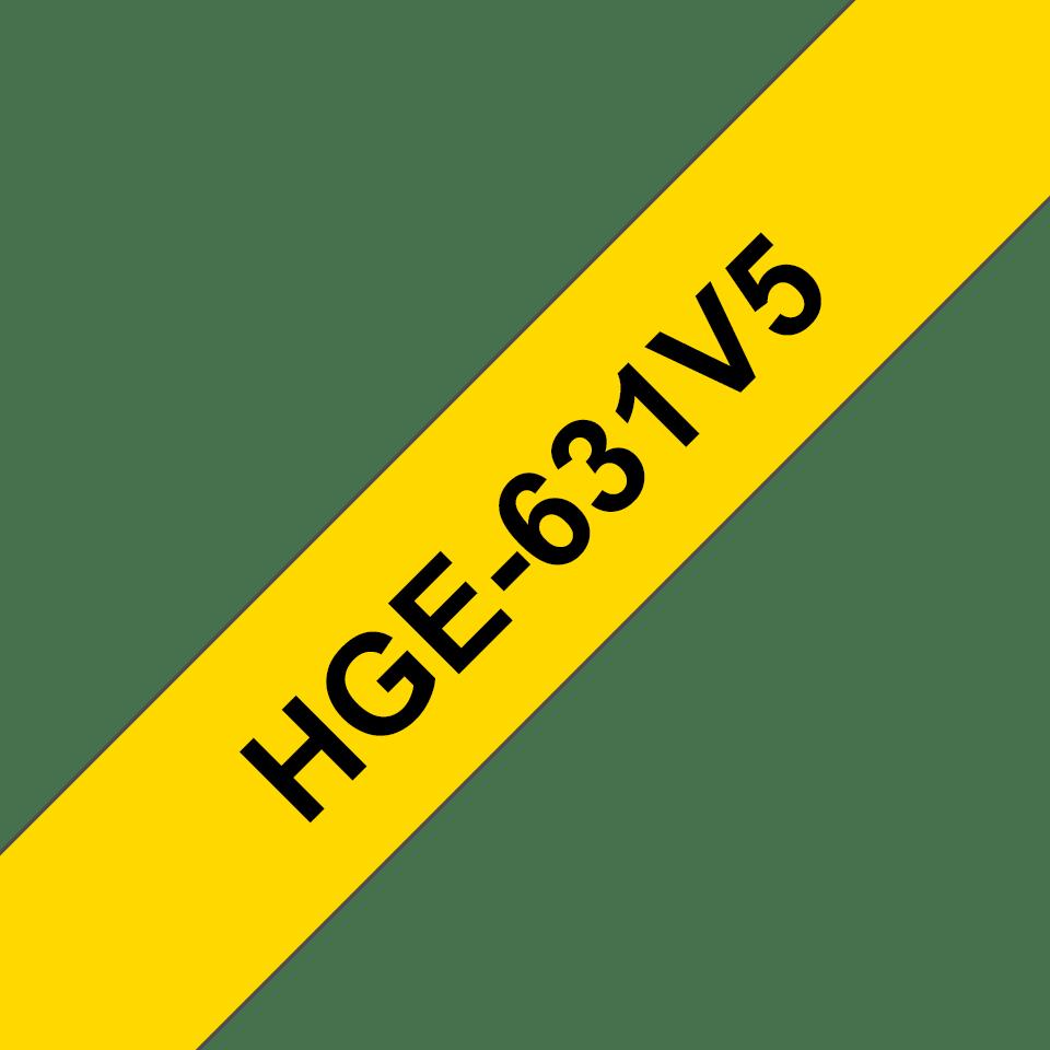 Alkuperäinen Brother HGe631V5 -suurnopeustarra, musta teksti/keltainen pohja, leveys 12 mm