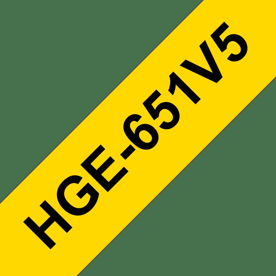Alkuperäinen Brother HGe651V5 -suurnopeustarra – musta teksti/keltainen pohja, 24 mm