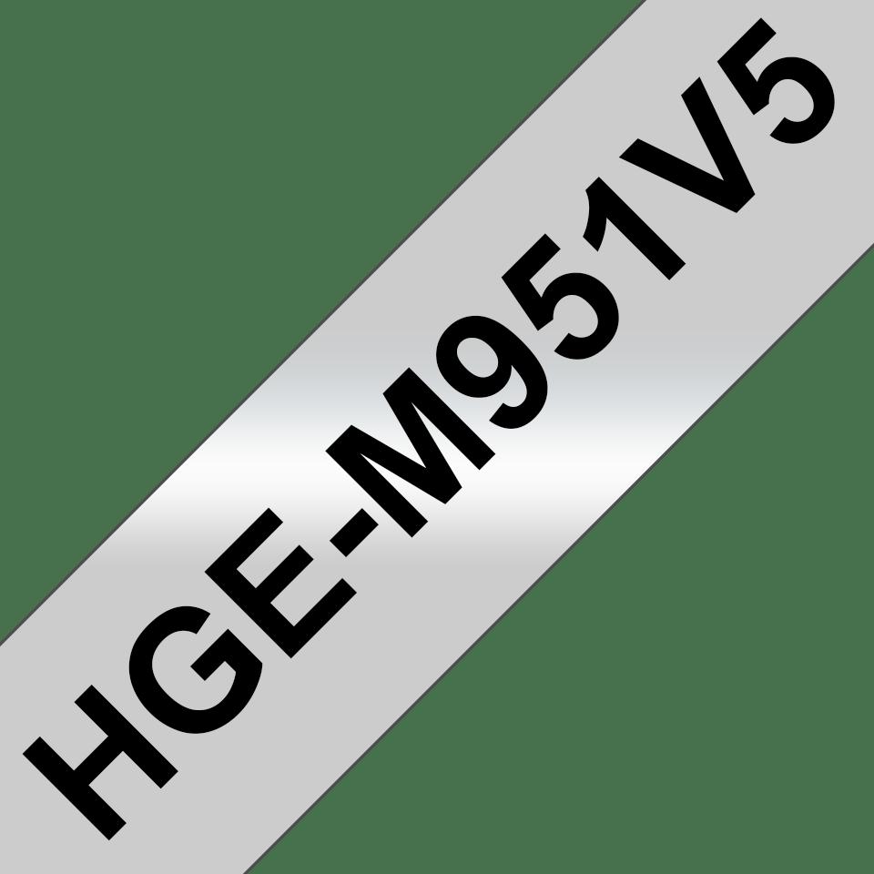 Alkuperäinen Brother HGeM951V5 -suurnopeustarra – musta teksti/mattahopea pohja, 24 mm