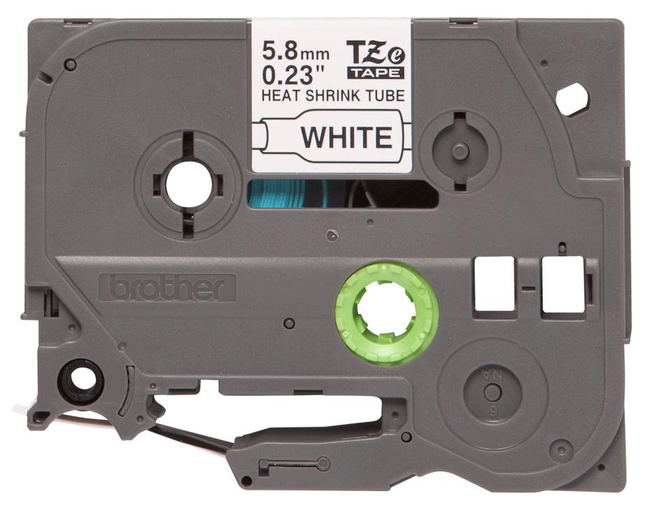 Alkuperäinen Brother HSe-211 -kutistesukka, musta teksti valkoisella pohjalla, leveys 5,8 mm