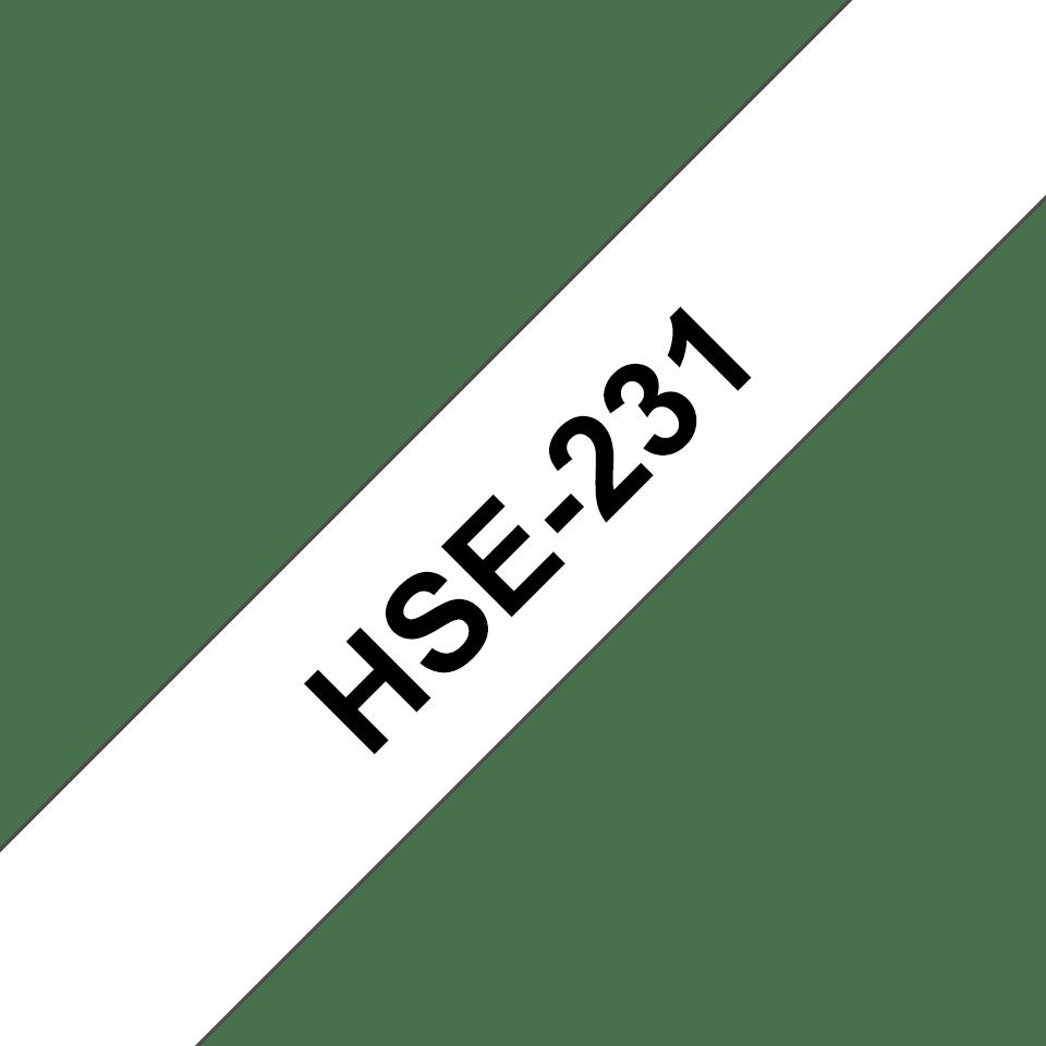 Alkuperäinen Brother HSe231 -kutistesukka – musta teksti valkoisella pohjalla, 11,7 mm