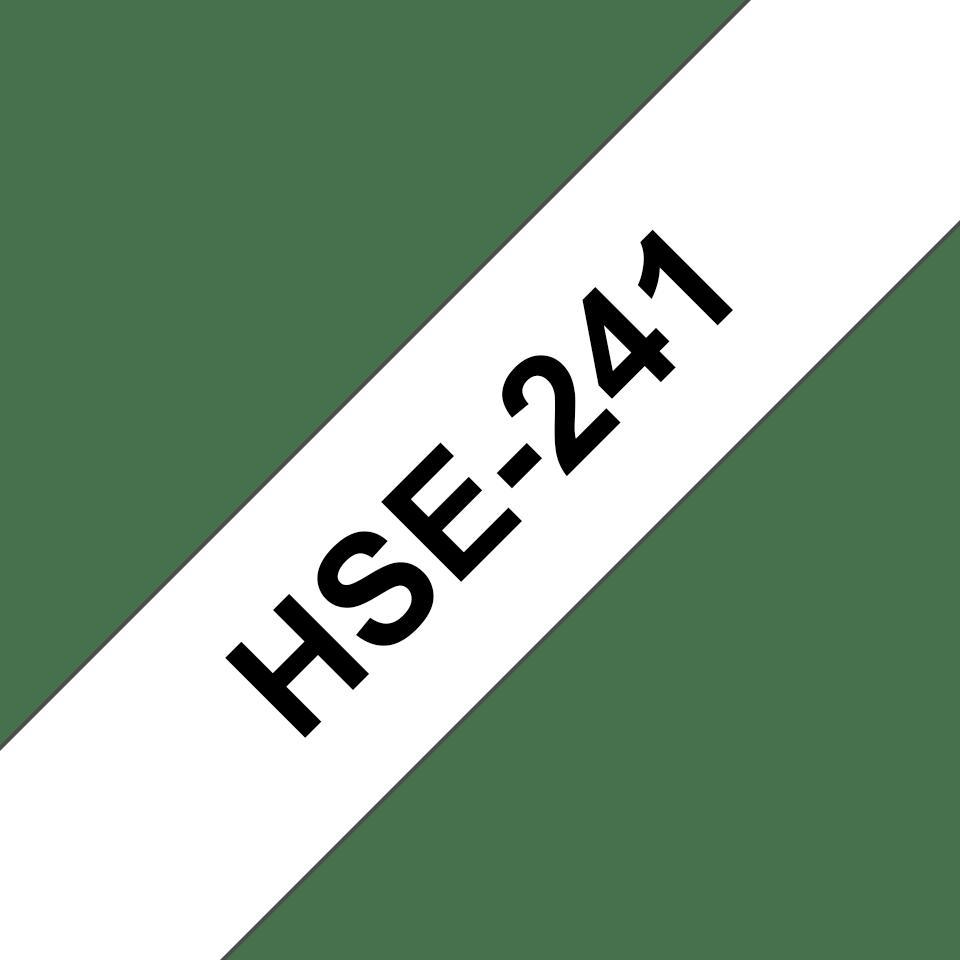 Brotherin alkuperäinen HSe241 -kutistesukka – musta teksti valkoisella pohjalla, 17,7 mm